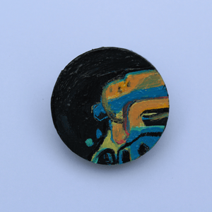 Martina Furlong - Contemporary Abstract and Landscape Artist Hand Painted Jewellery Set In Black - Hand Painted Brooch (3cm diameter) Irish art Colourful paintings