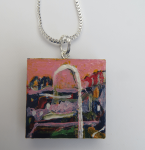 Multicoloured hand painted pendant