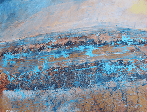 Martina Furlong - Contemporary Abstract and Landscape Artist Mixed Media Landscape With Turquoise And Brown - mixed media painting on paper (H25xW33cm) Irish art Colourful paintings