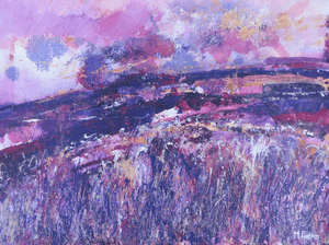 Martina Furlong - Contemporary Abstract and Landscape Artist Mixed Media One Purple Day In September - mixed media painting on paper (H25xW33cm) Irish art Colourful paintings