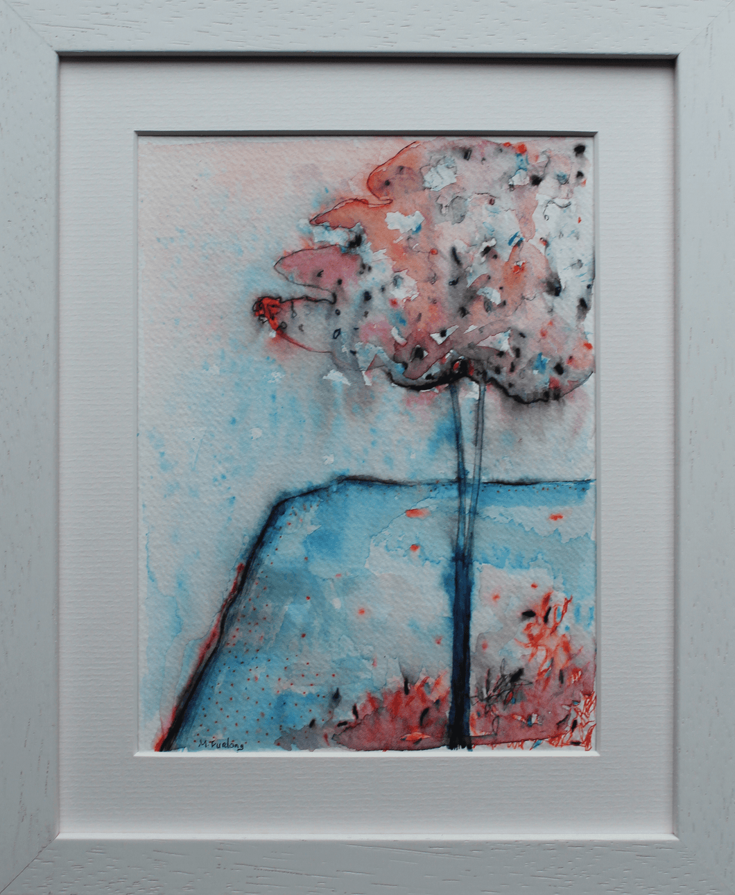 Martina Furlong - Contemporary Abstract and Landscape Artist Mixed Media Painting Colour Study With Tree 2  - pen and watercolour on paper (framed) Irish art Colourful paintings
