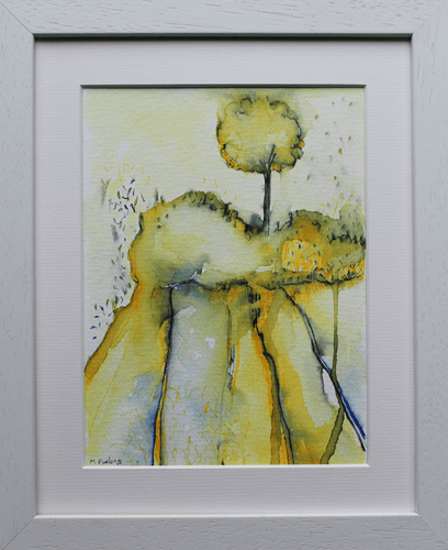 Martina Furlong - Contemporary Abstract and Landscape Artist Mixed Media Painting Colour Study With Tree 8  - pen and watercolour on paper (framed) Irish art Colourful paintings