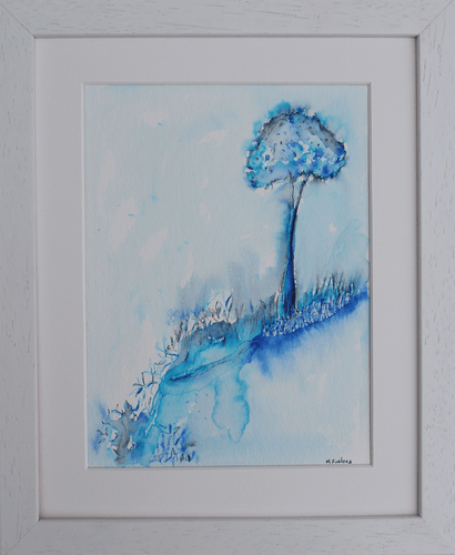 Martina Furlong - Contemporary Abstract and Landscape Artist Mixed Media Painting Colour Study With Tree 9  - pen and watercolour on paper (framed) Irish art Colourful paintings