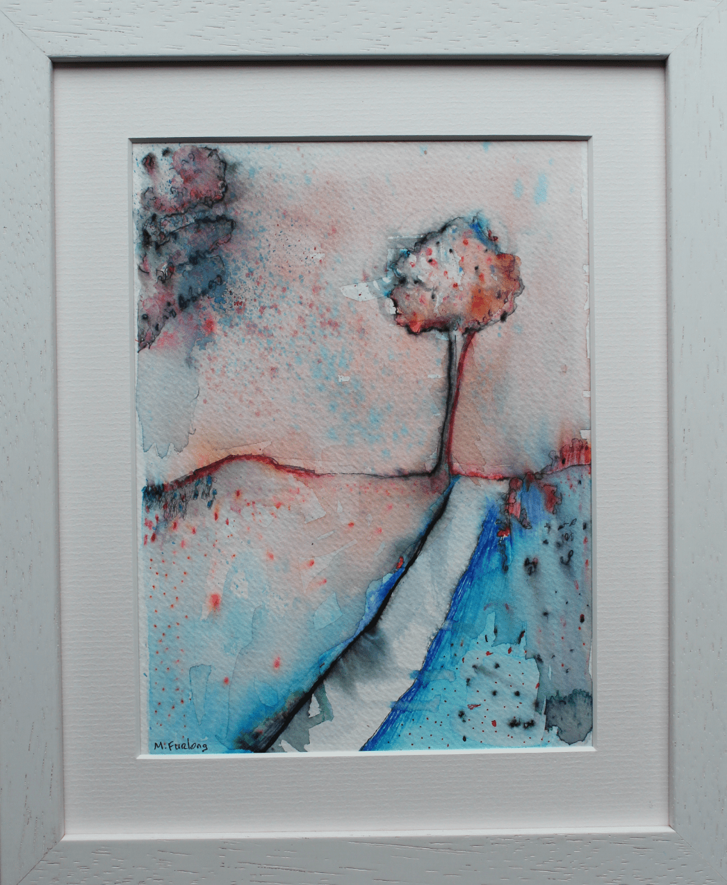 Martina Furlong - Contemporary Abstract and Landscape Artist Mixed Media Painting Colour Study With Trees 1  - pen and watercolour on paper (framed) Irish art Colourful paintings