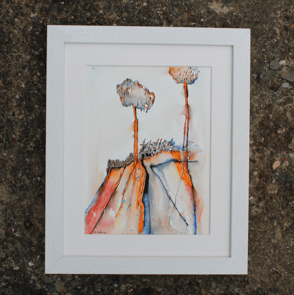 Martina Furlong - Contemporary Abstract and Landscape Artist Mixed Media Painting Colour Study With Trees 5  - pen and watercolour on paper (framed) Irish art Colourful paintings