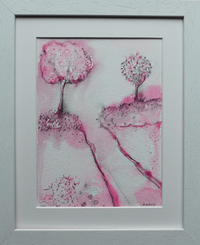 Martina Furlong - Contemporary Abstract and Landscape Artist Mixed Media Painting Colour Study With Trees 7  - pen and watercolour on paper (framed) Irish art Colourful paintings
