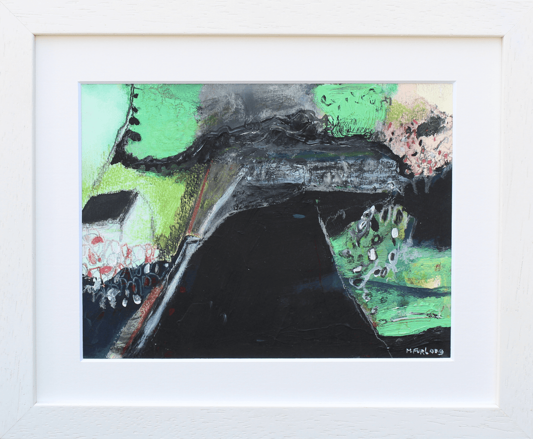 Martina Furlong - Contemporary Abstract and Landscape Artist Mixed Media Painting The Cottage With Black And Green 2 - mixed media painting on paper (framed) Irish art Colourful paintings