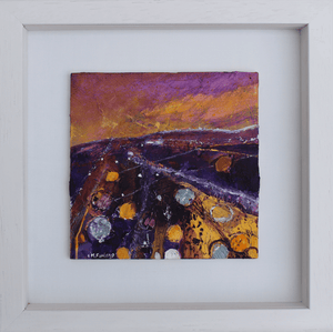 Martina Furlong - Contemporary Abstract and Landscape Artist Original acrylic painting From The Hill, June 2017 - original acrylic painting on wood (framed) Irish art Colourful paintings