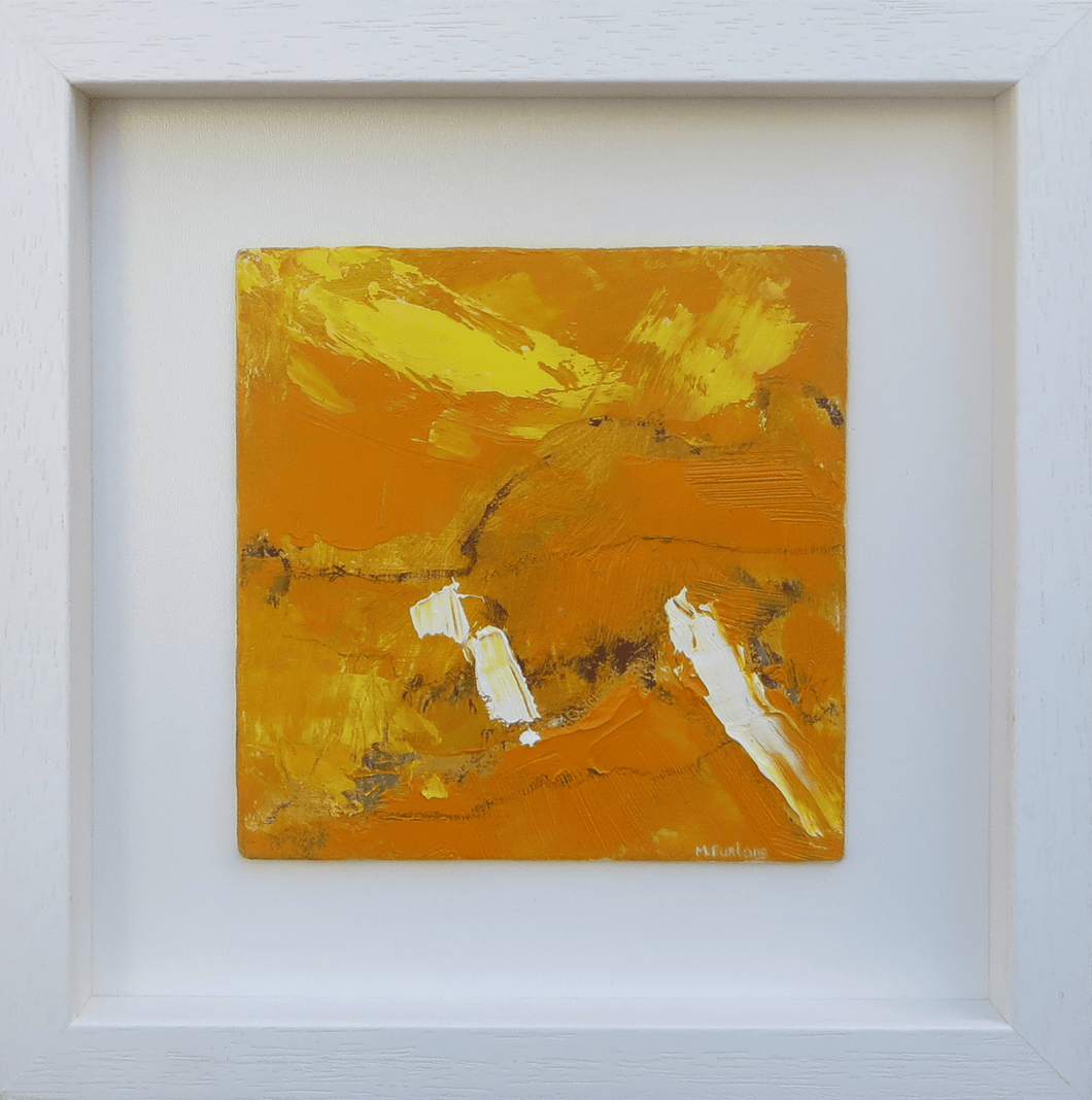 Martina Furlong - Contemporary Abstract and Landscape Artist Original acrylic painting Landscape Study In Yellow 1- original oil painting on wood (framed) Irish art Colourful paintings