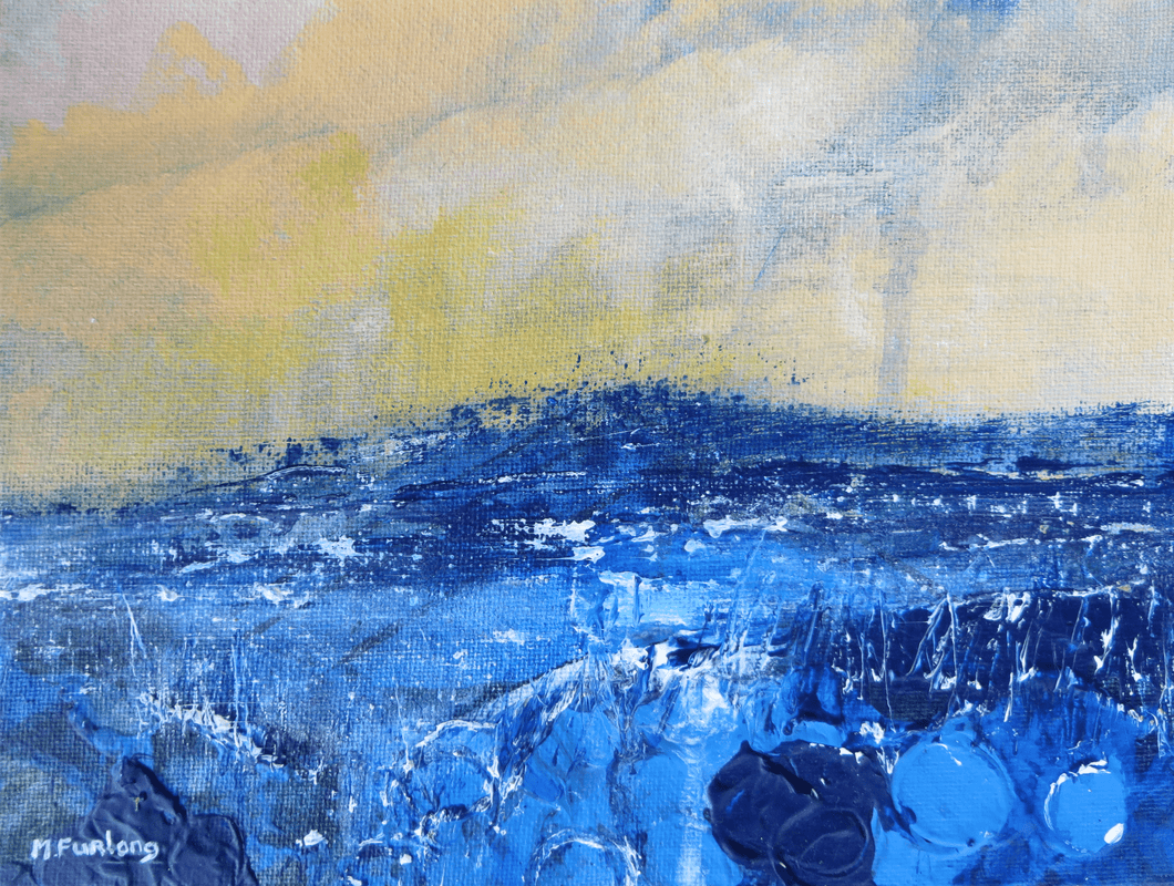 Martina Furlong - Contemporary Abstract and Landscape Artist Original acrylic painting Seascape In Yellow And Blue - original acrylic painting on canvas board (H15xW20cm) Irish art Colourful paintings