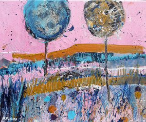 Martina Furlong - Contemporary Abstract and Landscape Artist Original acrylic painting Two Trees Against A Pink Sky - original acrylic painting on canvas (H25xW30cm) Irish art Colourful paintings