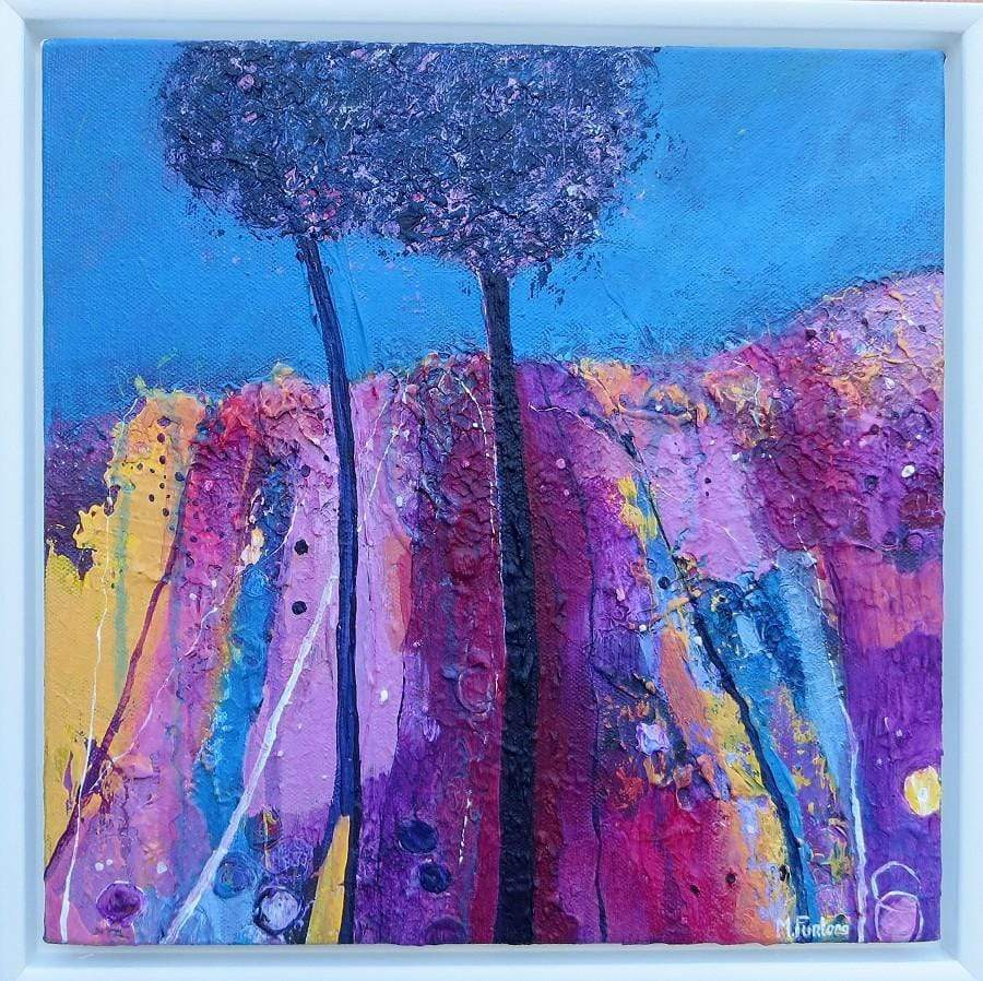 Martina Furlong - Contemporary Abstract and Landscape Artist Original acrylic painting Two Trees In Blue Irish art Colourful paintings