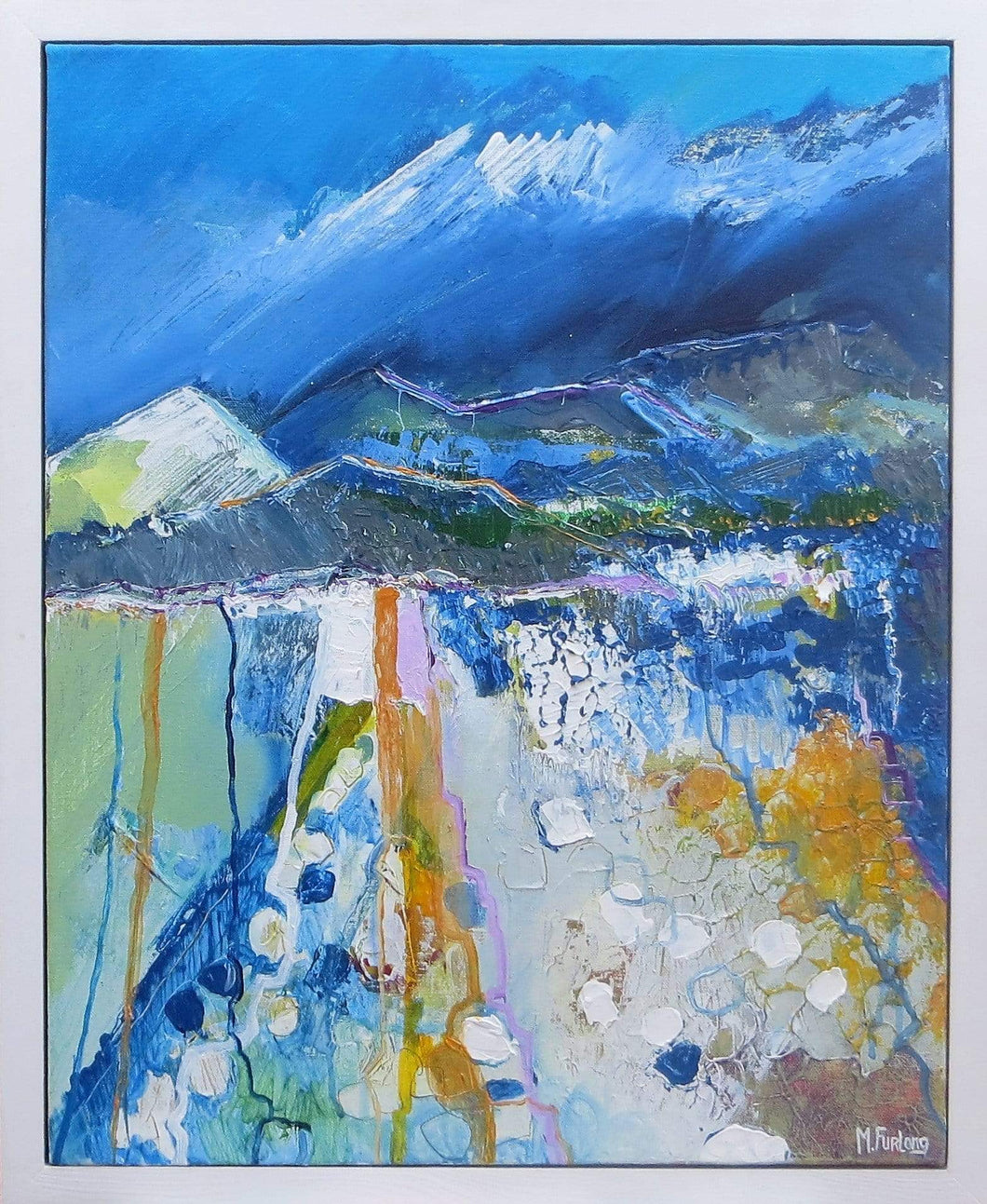 Martina Furlong - Contemporary Abstract and Landscape Artist Original acrylic painting Where The Mountains Touch The Sky Irish art Colourful paintings
