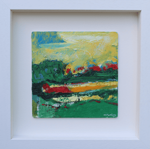 Martina Furlong - Contemporary Abstract and Landscape Artist Original oil painting A Wander Through Green Fields - original oil painting on wood (H15xW15cm) Irish art Colourful paintings