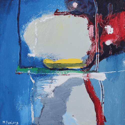 Martina Furlong - Contemporary Abstract and Landscape Artist Original oil painting As Seen Through The Square Window - original oil painting on wood (H15xW15cm) Irish art Colourful paintings