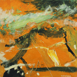 Martina Furlong - Contemporary Abstract and Landscape Artist Original oil painting Landscape Study In Yellow 2 - original oil painting on wood (H15xW15cm) Irish art Colourful paintings