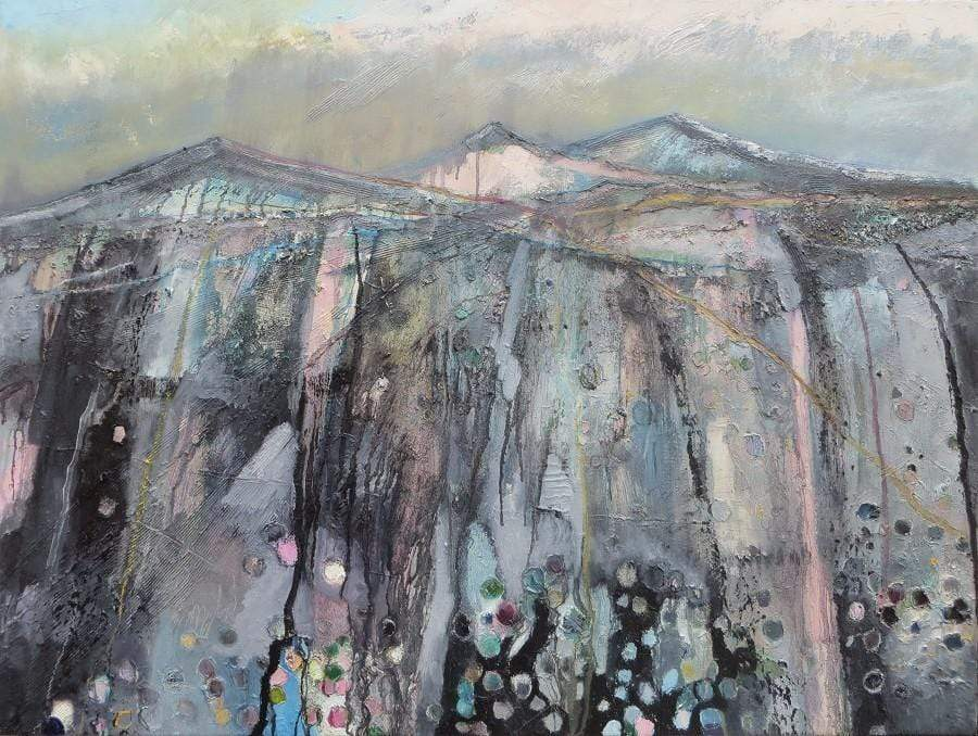 Martina Furlong - Contemporary Abstract and Landscape Artist Original oil painting 'Landscape With Black, Pink And Blue' - original oil painting on canvas (H76xW101cm) Irish art Colourful paintings