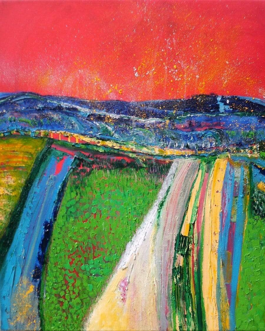 Martina Furlong - Contemporary Abstract and Landscape Artist Original oil painting Over The Hill And Far Away - original oil painting on canvas (H60xW50cm) Irish art Colourful paintings