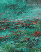 Load image into Gallery viewer, Martina Furlong - Contemporary Abstract and Landscape Artist Original oil painting The View From The Hill In Green - original oil painting on canvas (H50xW40cm) Irish art Colourful paintings