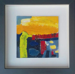 Martina Furlong - Contemporary Abstract and Landscape Artist Original oil painting Under A Yellow Sky (Internal World Study 4) Irish art Colourful paintings