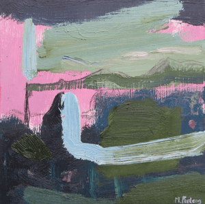 Martina Furlong - Contemporary Abstract and Landscape Artist Original oil painting With Pink, Black And Green 2019 - original oil painting on wood (H15xW15cm) Irish art Colourful paintings