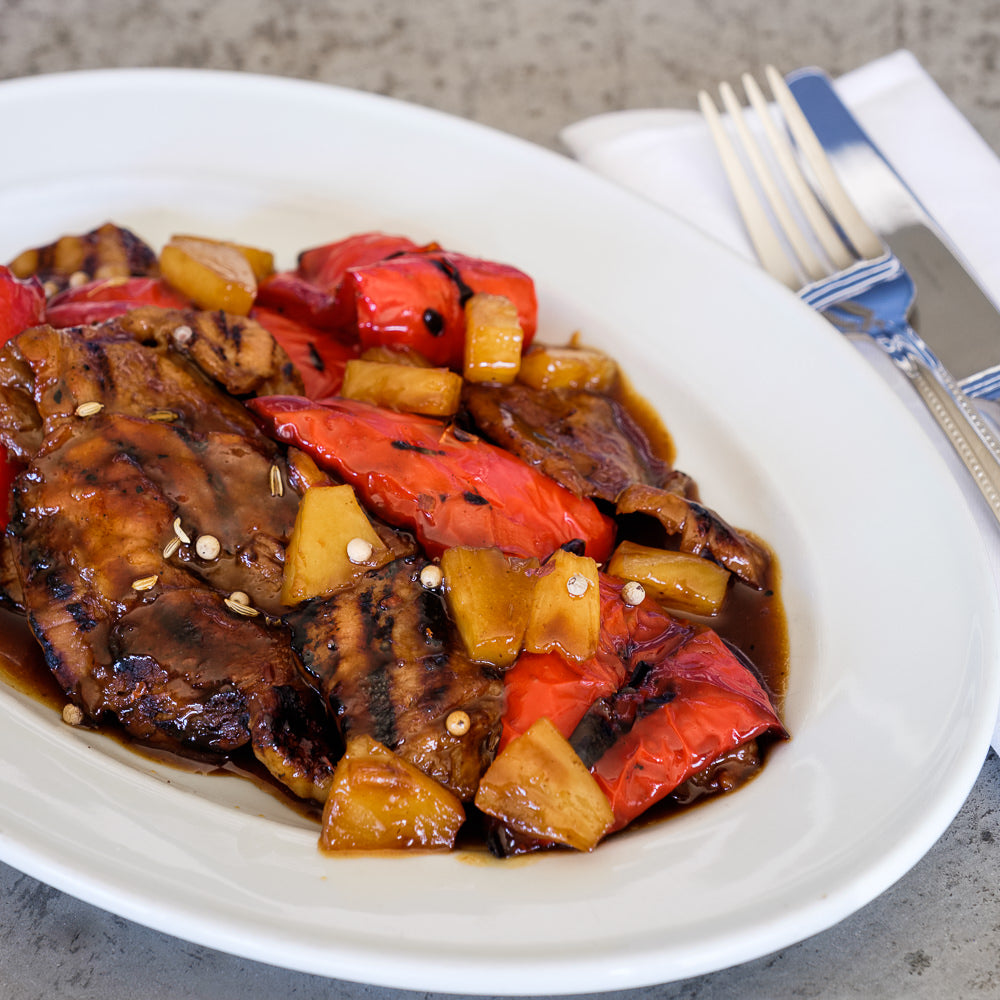 Pork with pineapple and capsicum