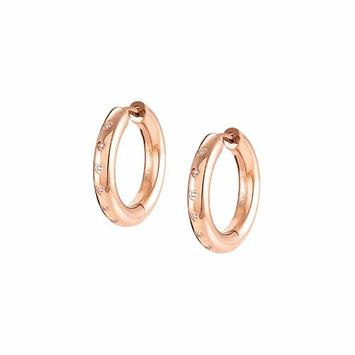 Nomination Cubic Zirconia Hoop Earrings Rose Gold Colour
