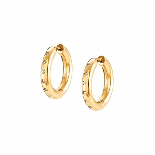 Nomination Cubic Zirconia Hoop Earrings Yellow Gold Colour