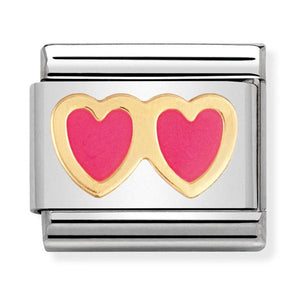 Nomination Pink Enamel Double Heart Charm