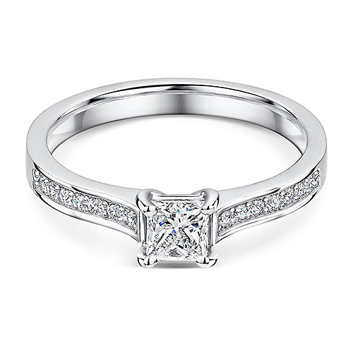 Platinum Princess Cut Rub Over Style Diamond Solitaire 0.66cts