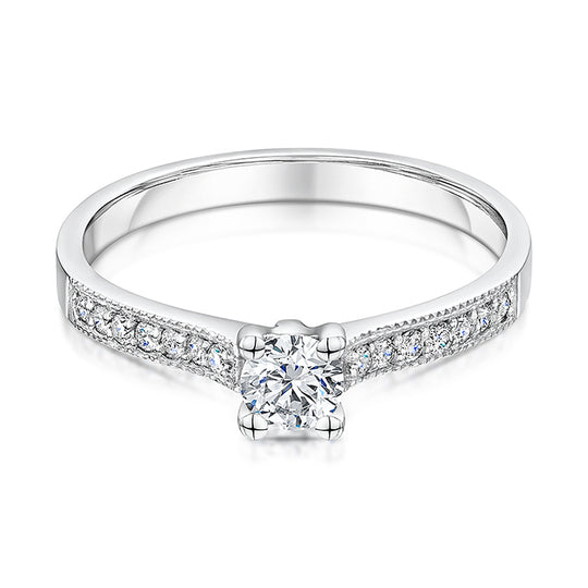 Low Set Platinum Solitaire With Diamond Shoulders 0.44cts