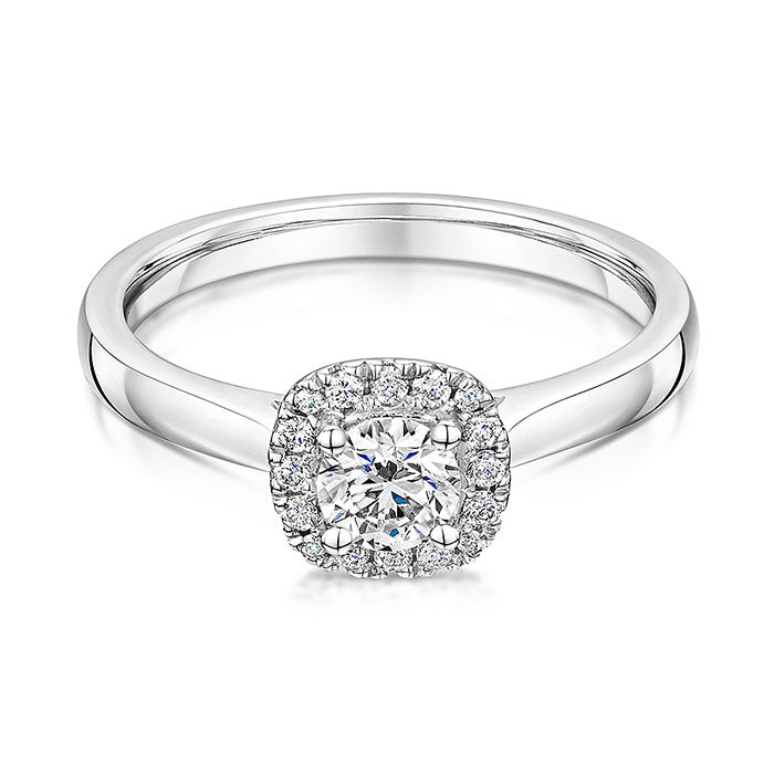 Platinum Set Halo Diamond Ring 0.62cts