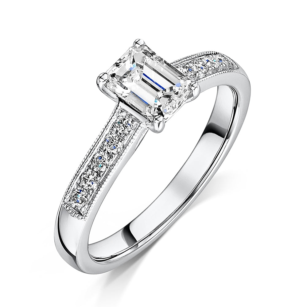 Platinum Emerald Cut Diamond solitaire 0.70cts