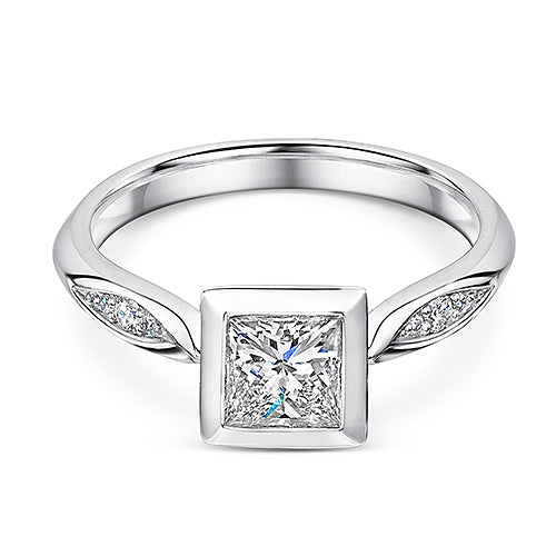 Platinum Princess Cut Rub Over Style Diamond Solitaire 0.80cts