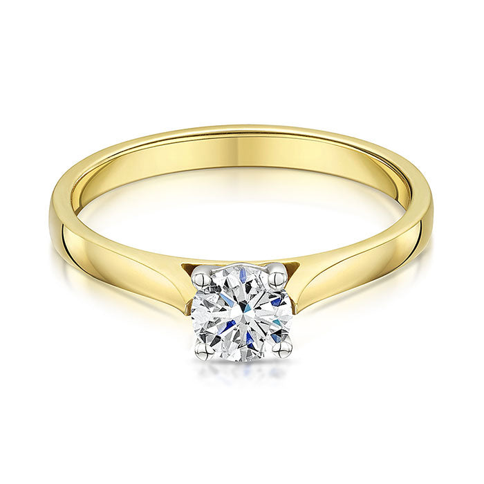 18ct yellow gold 0.57ct diamond solitaire