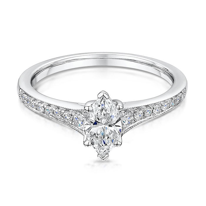 Claw set marquise diamond solitaire