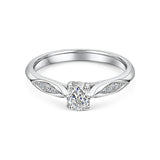 Oval Cut Diamond Solitaire With Marquise Style Shoulders 0.40cts