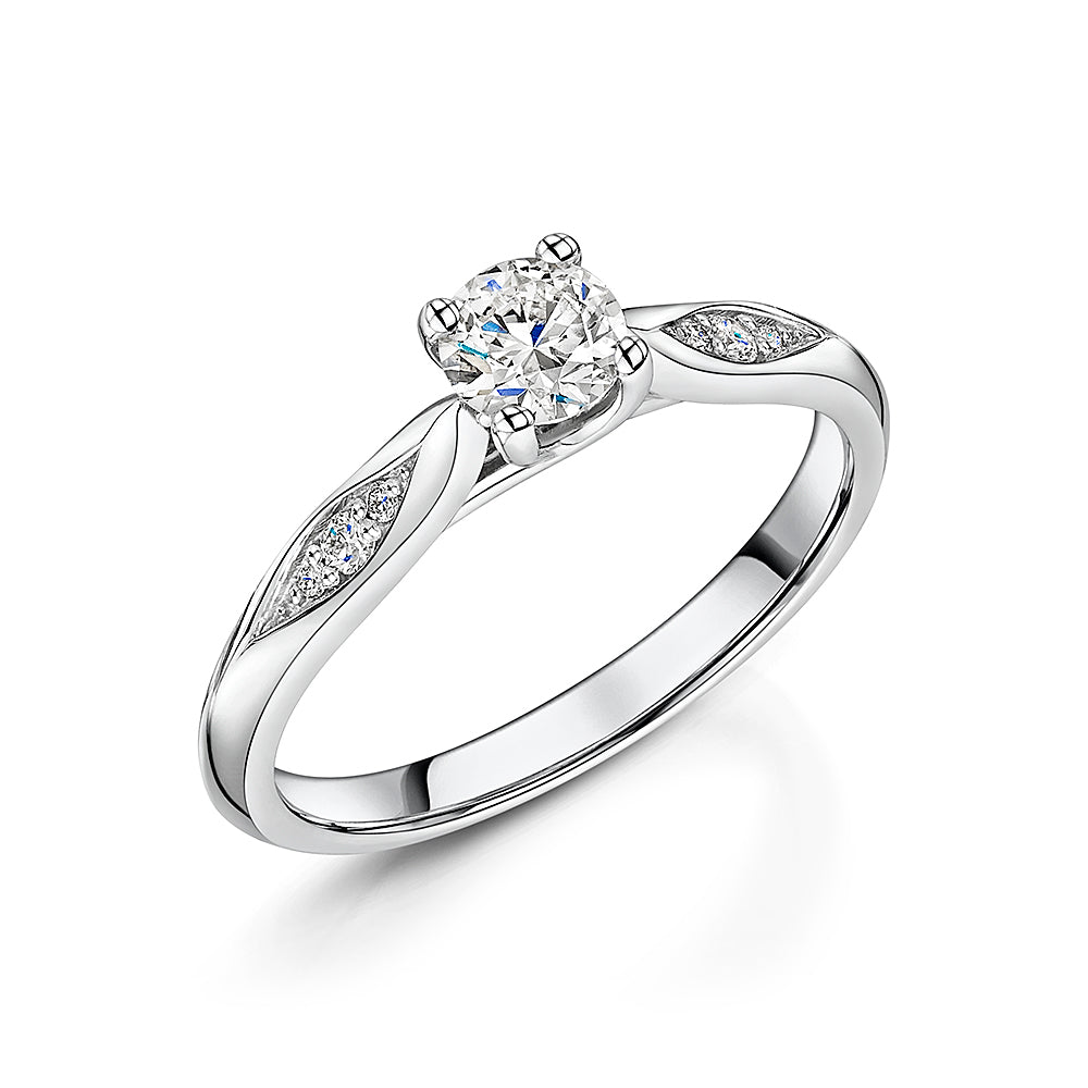 Diamond Solitaire With Marquise Style Shoulders 0.40cts