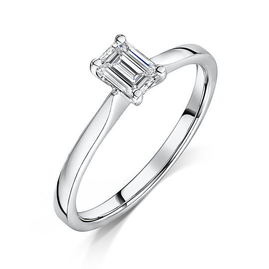 Emerald Cut Diamond Solitaire Engagement Ring 0.47cts