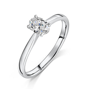 Oval Cut Diamond Solitaire Engagement Ring 0.40cts