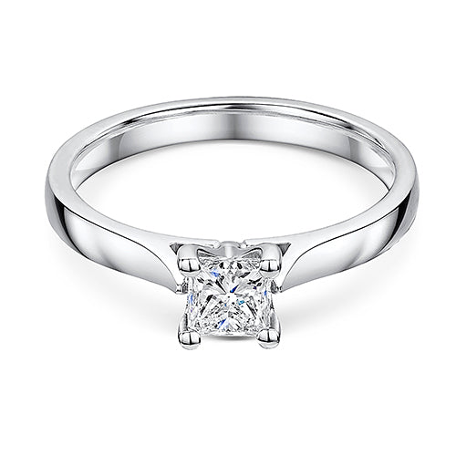 Princess Cut Diamond Solitaire Engagement Ring 0.50cts