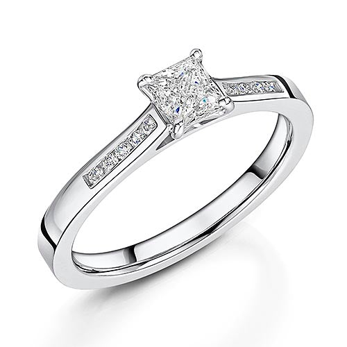 Princess Cut Diamond Solitaire Engagement Ring 0.51cts