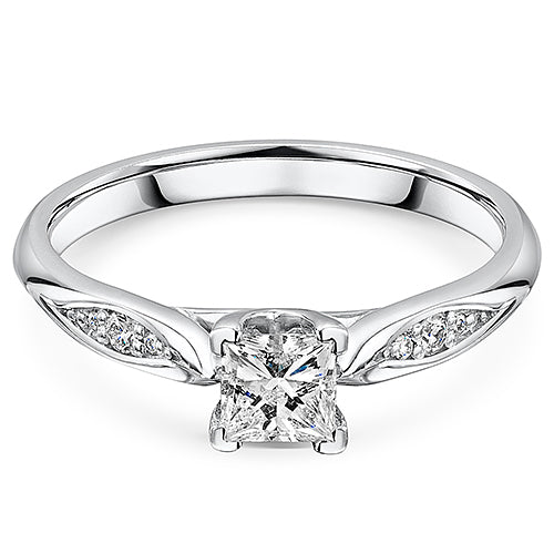 Princess Cut Diamond Solitaire Engagement Ring 0.49cts