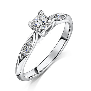 Princess Cut Diamond Solitaire Engagement Ring 0.55cts