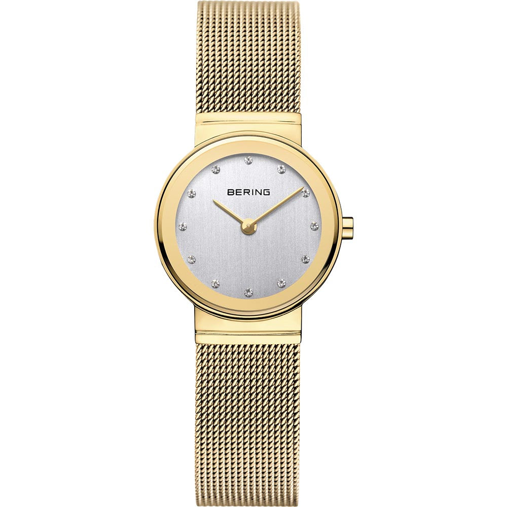 Bering Ladies Stainless Steel Gold Colour Crystal Watch