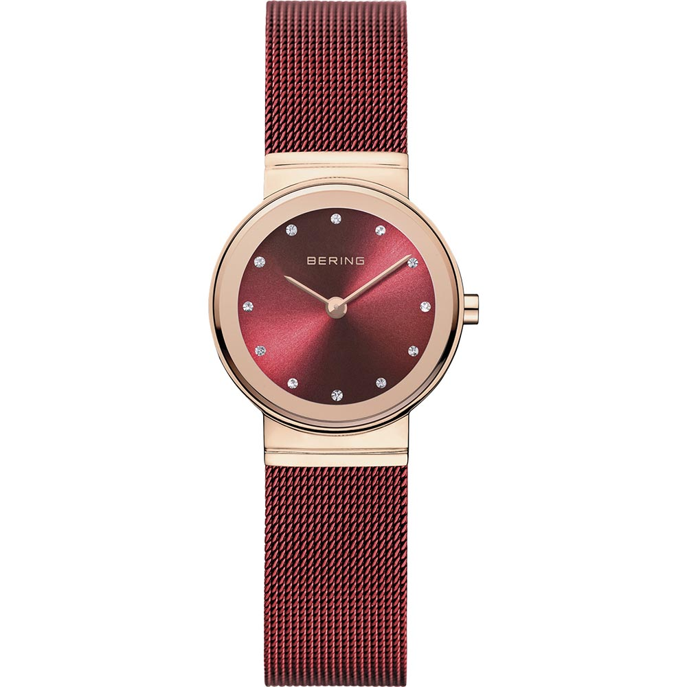 Bering Ladies Stainless Steel Red Crystal Watch
