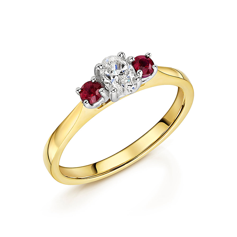 Ruby & Oval Diamond Ring In 18ct Yellow Gold
