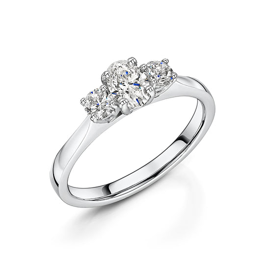Oval & Brilliant Cut Diamond Three Stone Ring 0.75cts