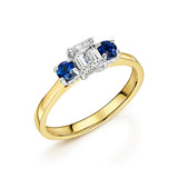 Diamond & Sapphire 3 Stone Ring In 18ct Yellow Gold