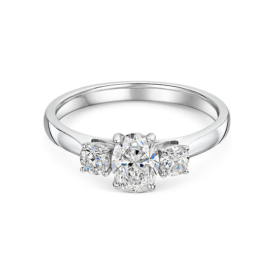 Oval & Brilliant Cut Diamond Three Stone Ring In Platinum 1.00ct